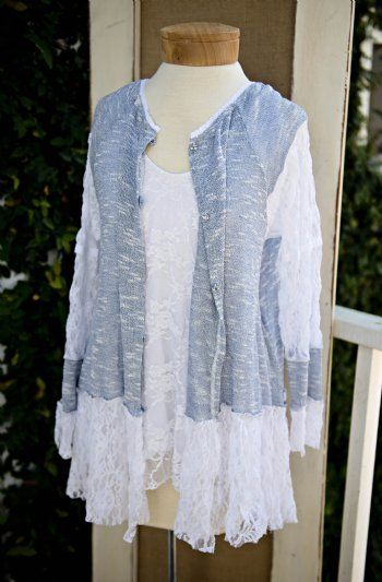 Shabby Chic Clothing Women | Womans Shabby Chic Blue Lacy Cardigan Matching Lace Under Tank ...