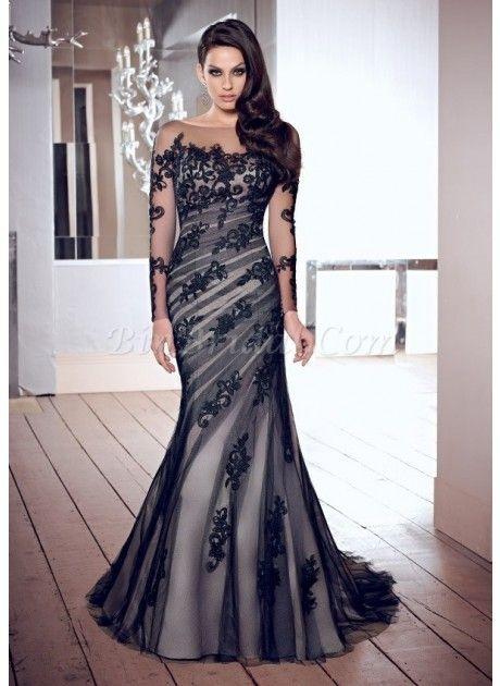Glamorous Scoop Black Lace Long Sleeve Chapel Train Mermaid Wedding Dress