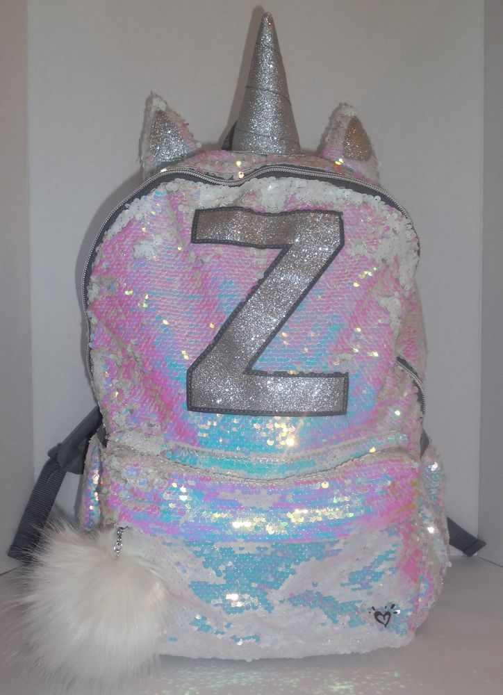75efe9b075 JUSTICE Girls Initial Z Backpack Bookbag UNICORN Sequin School New  Justice   Backpack