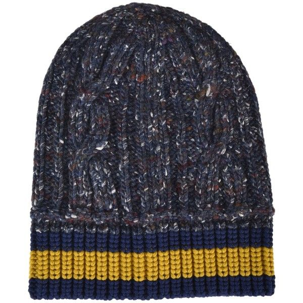 Melange Beanie (205 CAD) ❤ liked on Polyvore featuring men's fashion, men's accessories, men's hats, blu giallo, menaccessorieshats, gucci mens hat and mens beanie hats