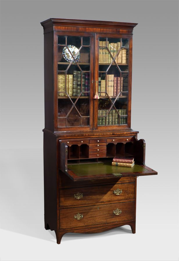 small regency mahogany secretaire bookcase beautiful