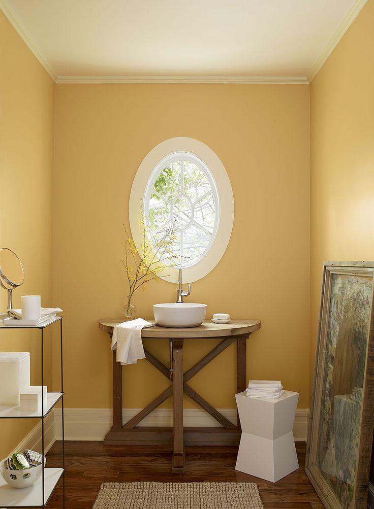 Benjamin Moore sun-kissed orange bathroom; august morning 2156-40 (walls), opaline OC-33 (ceiling & trim), carob AF-160 (accent)