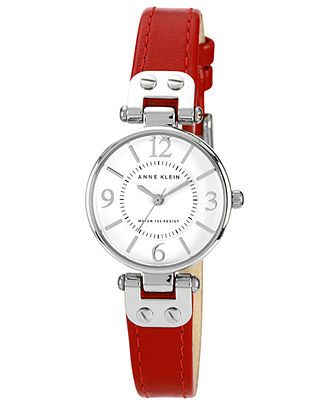 Anne Klein Watch, Women's Red Leather Strap 26mm 10-9443WTRD - All Watches - Jewelry & Watches - Macy's
