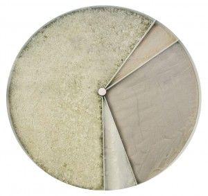 Состав стекла.  Саая большая компонента — битое стекло. Далее, по часовой стрелке: карбонат кальция из мела, песок как источник кремния и сода.