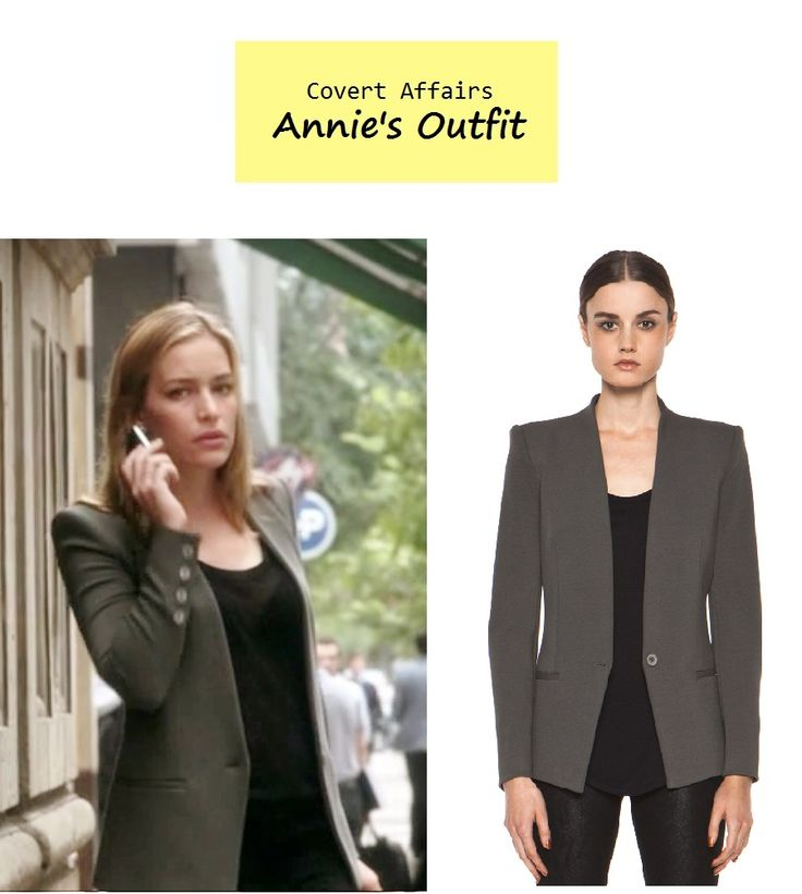 "On the blog: Annie Walker's (Piper Perabo) charcoal gray blazer | Covert Affairs - ""Rock A My Soul"" (Ep. 404) #tvfashion #outfits #fashion #tvstyle"