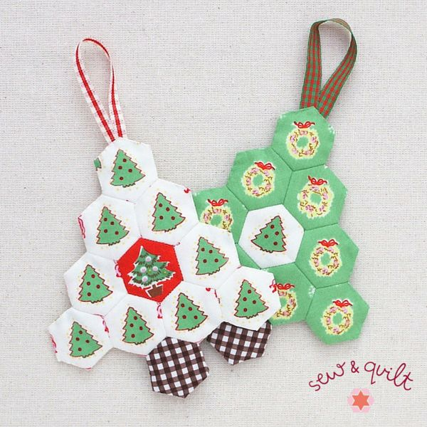 Hexagon Christmas Tree's, Ornament Kit – Set of 3 | Sew and Quilt
