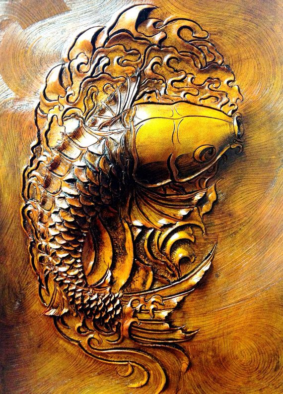 Hand carved embossed leather koi fish by LawsonLeather on Etsy - pinned by https://ianandersonfineart.com/