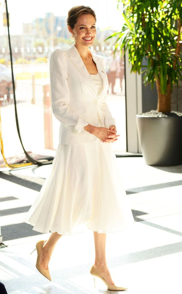 Gorgeous in all white, the Maleficent star attends the Global Summit to End Sexual Violence in Conflict in London where she gave this moving speech.