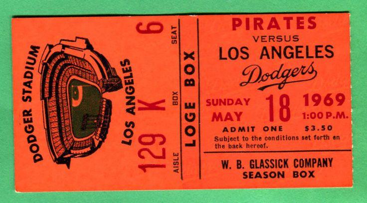 beautiful 1969 season ticket stub-5/18/69 dodgers/pirates from $12.5