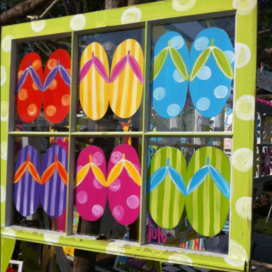 Flip flops!! Old salvaged window & painted flipflops, beach cottage home decor diy, recycle, upcycle, salvage, repurpose! For ideas and goods shop at Estate ReSale & ReDesign, Bonita Springs, FL