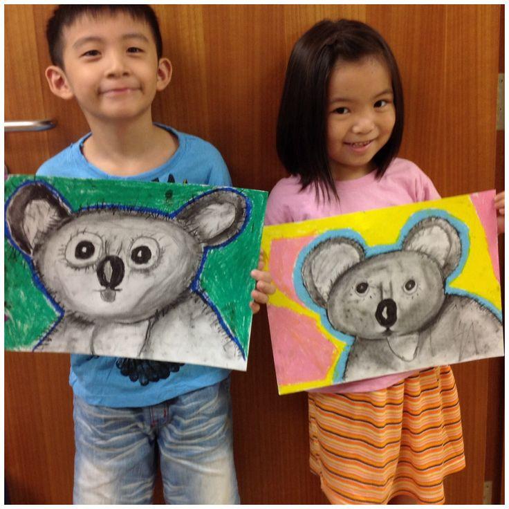 Koala bear in charcoal and oil pastels