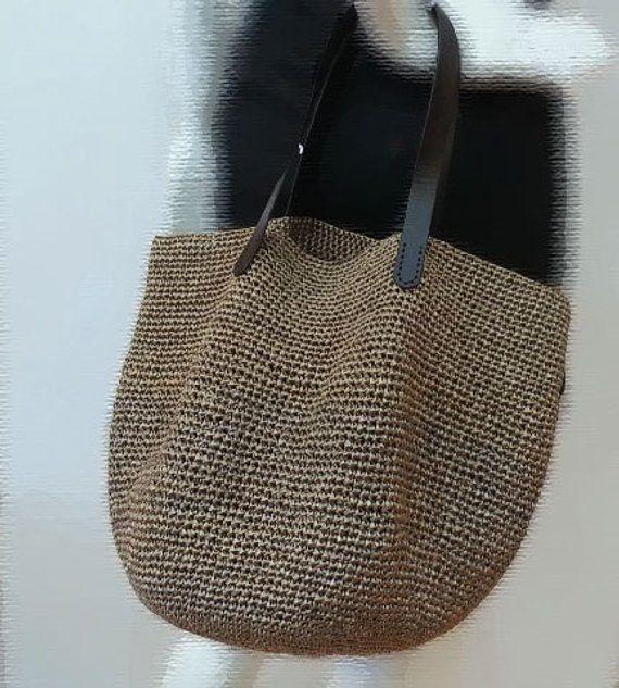 Crocheted Summer Raffia Brown Tote Beach Bagcrochet Bag With
