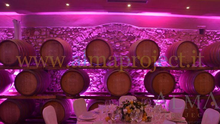 ALMA PROJECT @ Villa Mangiacane - Barriccaia_Cellar _ led bars pink dinner party 064