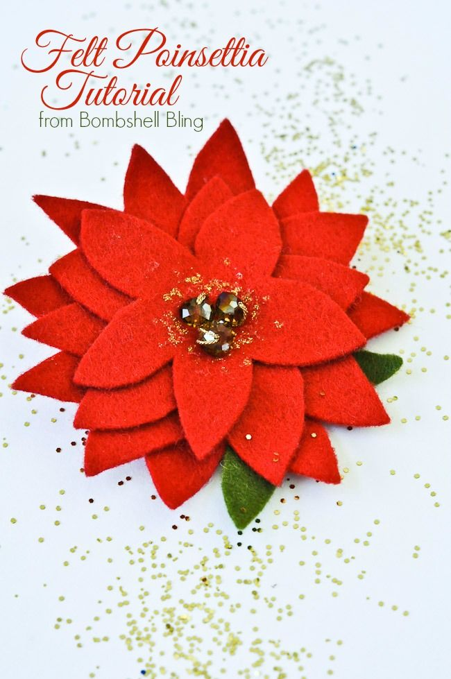 Felt Poinsettia Tutorial - Perfect hair accessory for a little girl! I would also use it on a pillow!