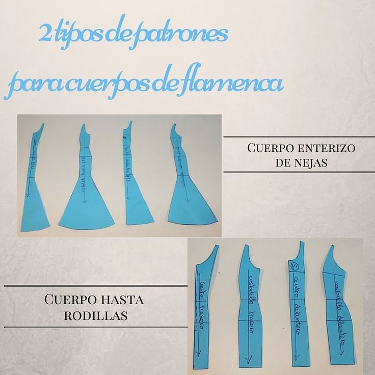2 tipos de patrones para cuerpos del traje de flamenca.