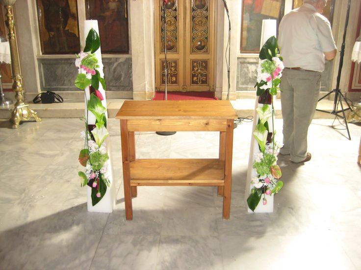 Λαμπάδες Γάμου τριγωνικές-κερί