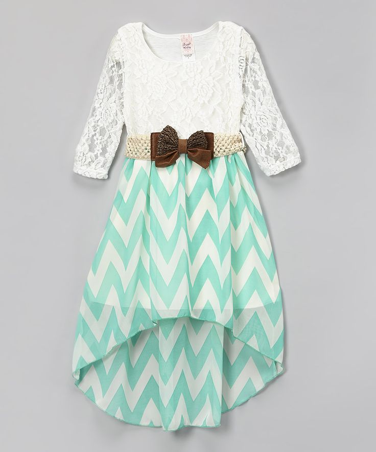 Look what I found on #zulily! Mint & White Chevron Belted Hi-Low Dress - Toddler & Girls by Just Kids #zulilyfinds