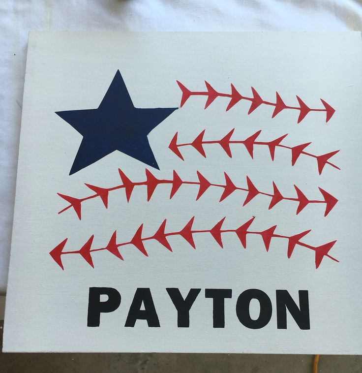 4th of July baseball flag with players name added