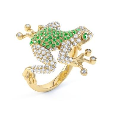 Anelli d'oro giallo con tsavorite e Diamante