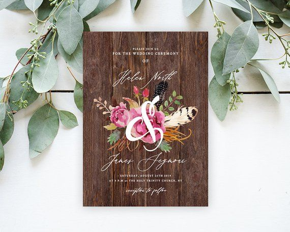 Rustic Tribal Wedding Invitation Card With Wood Background
