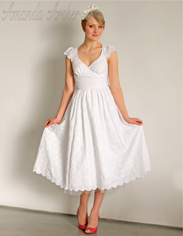 Tea Length Eyelet Wedding Dress