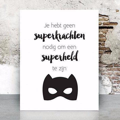 Van Mariel Poster A3 Superkrachten - DE GELE FLAMINGO