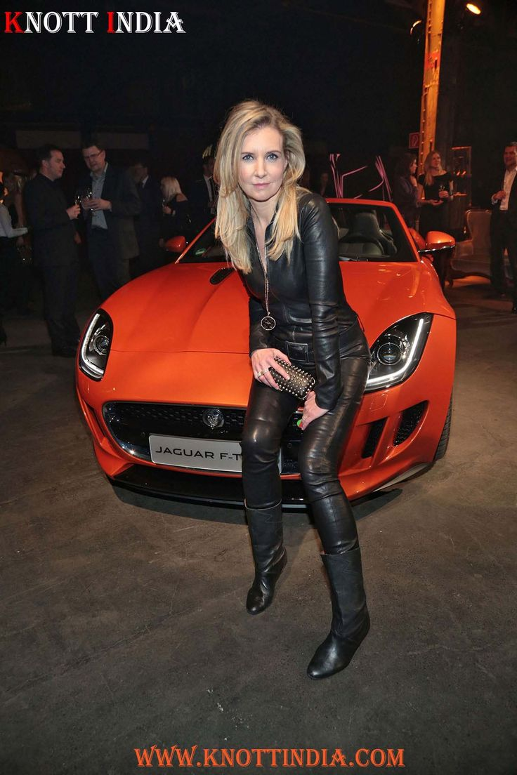 Jette Joop looks damn hot in a black leather catsuit and leather boots at the Germany premiere of the new Jaguar F-Type coupe in Hamburg  #leather #exports #exporter #exports #in #delhi #knottindia