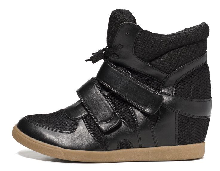 ij-a8-hp, czarne buty sportowe na koturnie, zapinane na rzepy
