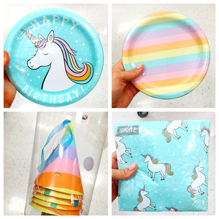 Unicorn party supplies are at Target! Love the pastel rainbow design.