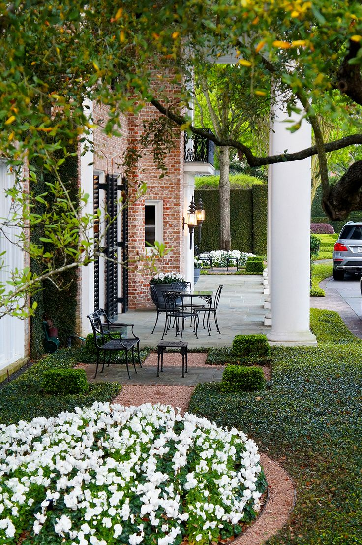 42 best formal english estate river oaks houston images on the front patio of this formal english estate has a natural gray stone hardscape lined with red brick matching the home asian jasmine provide the ground dhlflorist Gallery