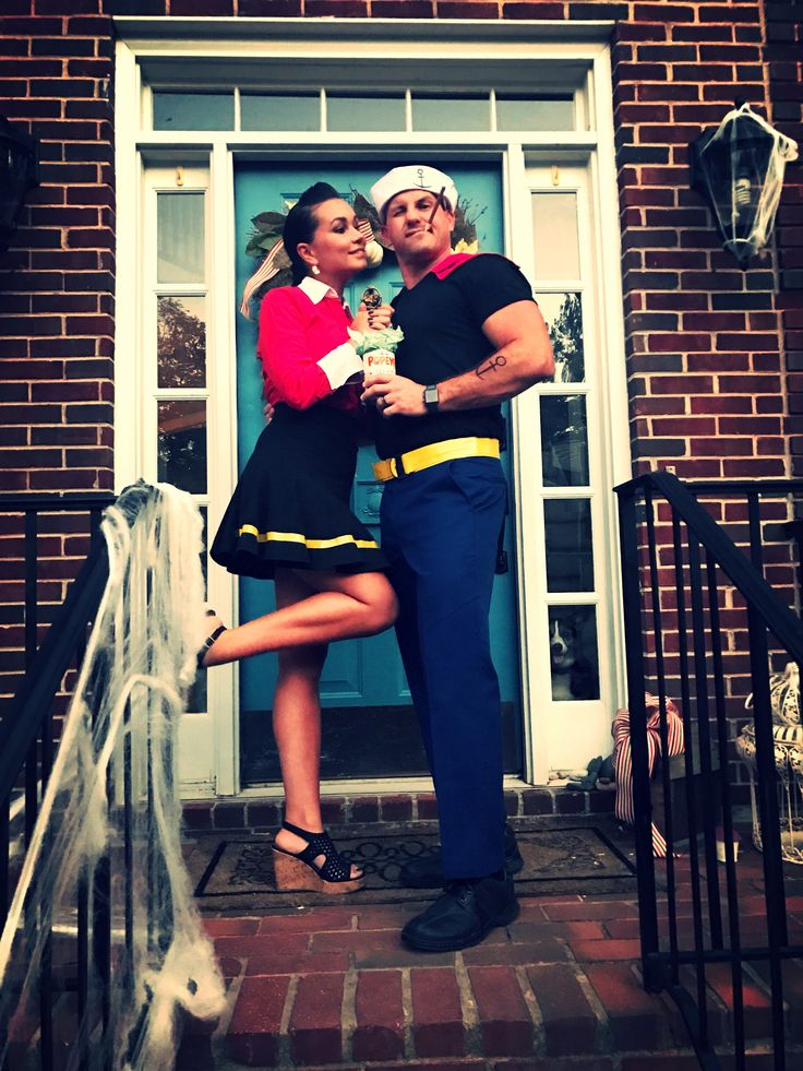 Colored electrical tape, yellow duct tape and a few already owned pieces of clothing can go a long way on a modern take of Popeye and Olive Oil. #popeye #olivo #costumes #costume