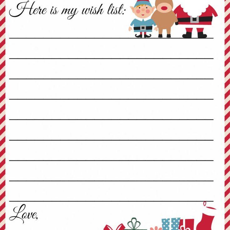 Free Printable Letter to Santa Template ~ Cute Christmas Wish List