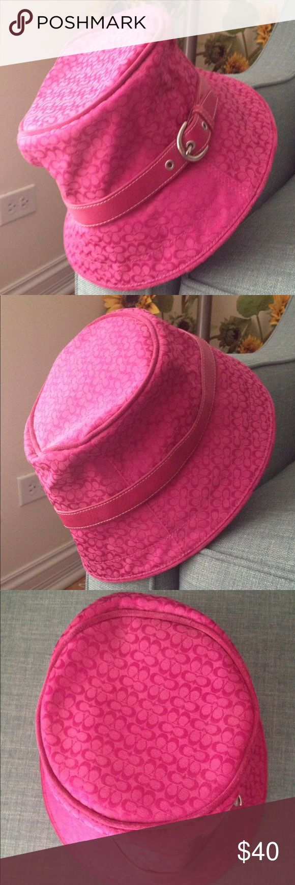 Pink Coach hat Hot pink Coach hat with leather trim and silver buckle. Excellent condition. Coach Accessories Hats