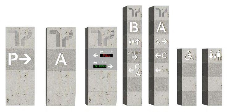 Concrete totem retail signage concept