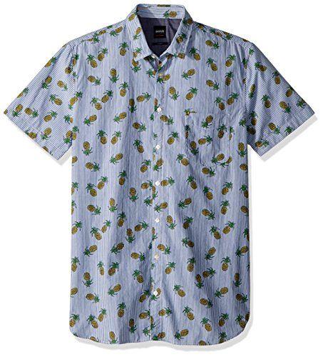 88890b90d Hugo Boss Boss Orange Men's Short Sleeve Stripe Shirt with Pineapple  Design, Blue, XXL