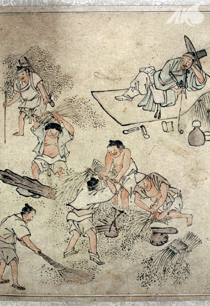 [Middle Ages-Joseon] Painting of threshing, by Danwon Kim Hong-do | Korea