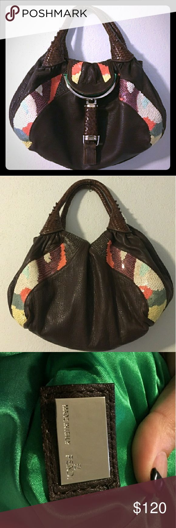 Rare Brown leather Sequined Bag FENDI inspired. Soft genuine leather shoulder bag.  Price reflects authenticity.  In great condition other than the compartment closure has a hard time staying closed. Fendi Bags Shoulder Bags