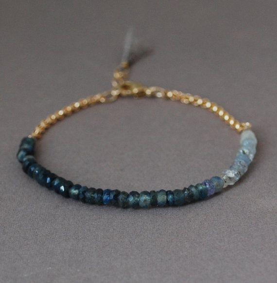 Ombre Blue Sapphire Gemstone Beaded Gold Bracelet by JENNYandJUDE