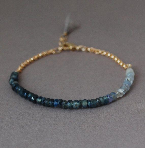Ombre Blue Sapphire Gemstone Beaded Gold Bracelet by JENNYandJUDE