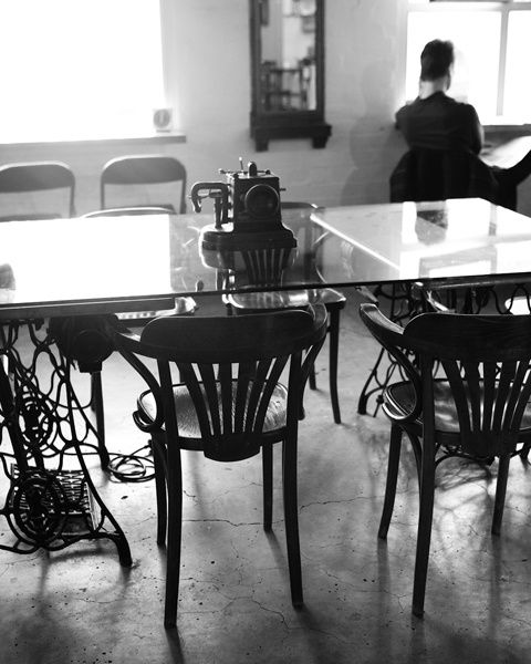 love the table made with the cast iron sewing machine table legs  interiors | Sean Fennessy Photographer