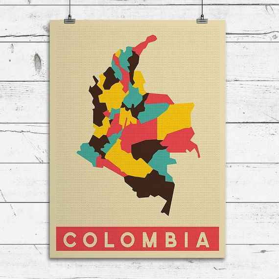 COLOMBIA Art Print Pop Art Map Modern Style by ConsiderGraphics, $25.00
