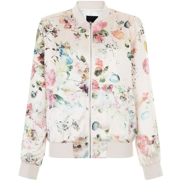 New Look Pink Floral Print Bomber Jacket ($44) ❤ liked on Polyvore featuring outerwear, jackets, tops, casacos, sweaters, pink pattern, pink jacket, bomber jacket, floral print jacket and flight jacket