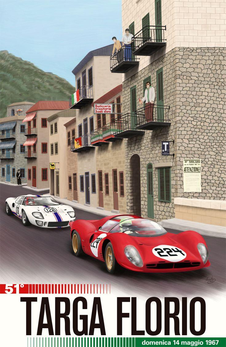 Cars silver racer poster 2 - Italia 1967 Gran Prix Retro Posterscar