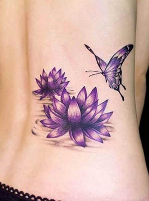 Purple Flower Butterfly Tattoo