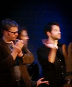 The way Misha turns around expecting a normal sized human and not a moose-sized man