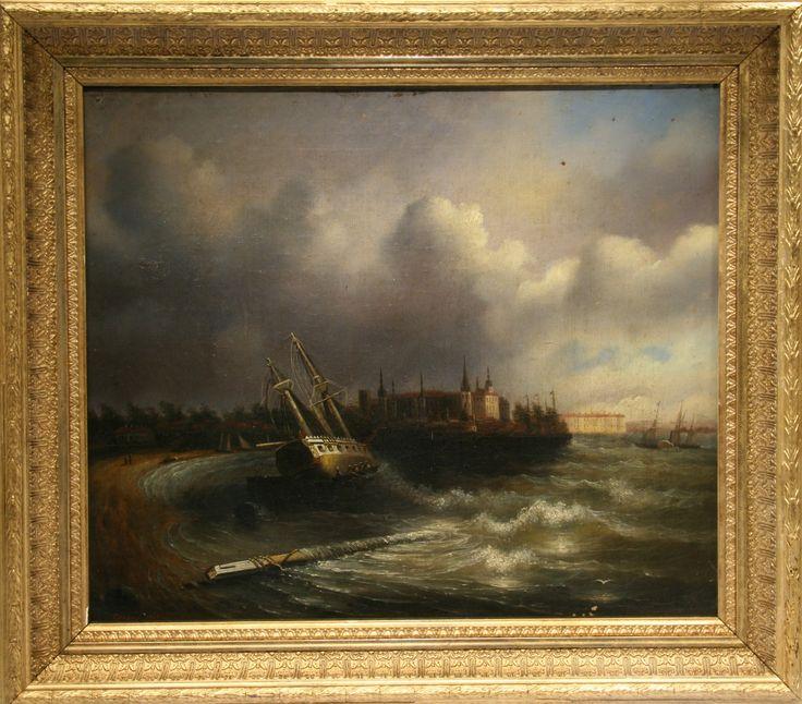 """Карни/Carney. """"Шторм"""". 1843 г. Холст, масло. 44х53,5"""