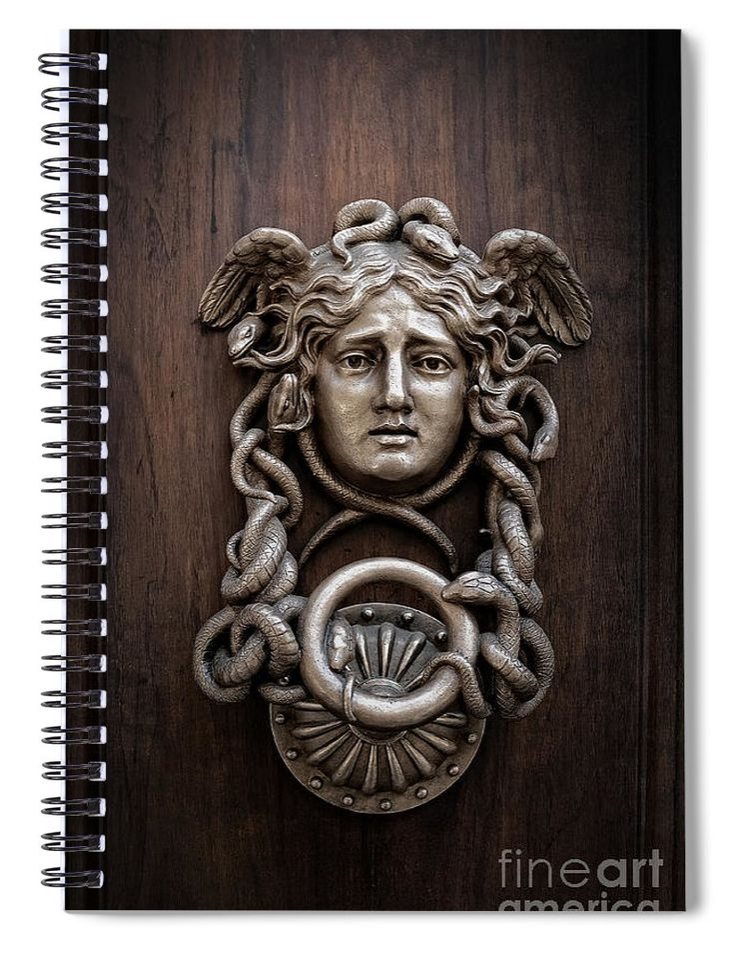 Rome Spiral Notebook featuring the photograph Medusa Head Door Knocker by Edward Fielding