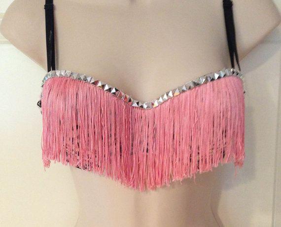 Pink Fringe Bra by TranceTrampBoutique on Etsy, $15.00