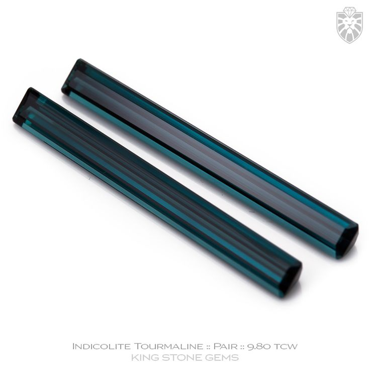 Blue Tourmaline Emerald Cut Pair 9.80ct   KING STONE GEMS