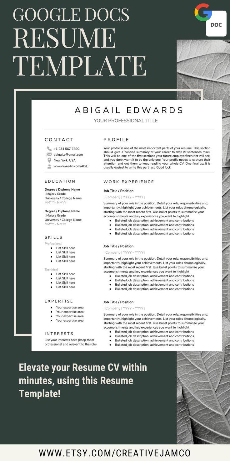 Google docs resume template cv template free